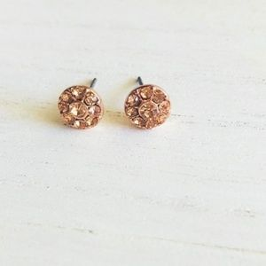 Alquimia Jewelry - PAVE ROSE GOLD 5MM HALO STUD EARRINGS